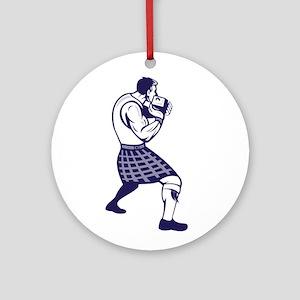 Scotsman Weight Throw Isolated Retro Round Ornamen