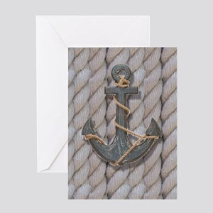rustic anchor nautical rope Greeting Cards