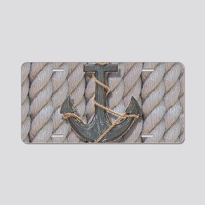 rustic anchor nautical rope Aluminum License Plate