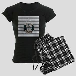 teal grey stripes life saver Women's Dark Pajamas