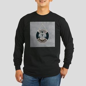 teal grey stripes life saver Long Sleeve T-Shirt