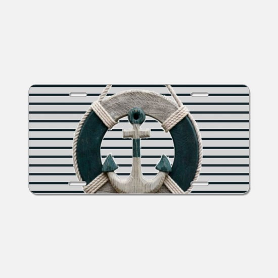 teal grey stripes life save Aluminum License Plate