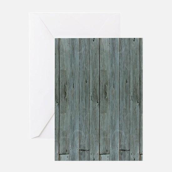 nautical teal beach drift wood Greeting Cards