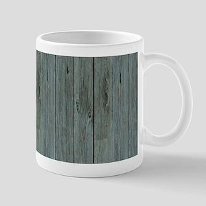 nautical teal beach drift wood Mugs