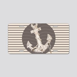 shabby chic anchor nautical Aluminum License Plate