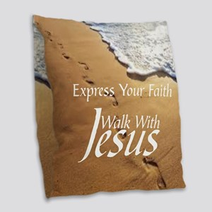 EXPRESS YOUR FAITH WALK WITH J Burlap Throw Pillow