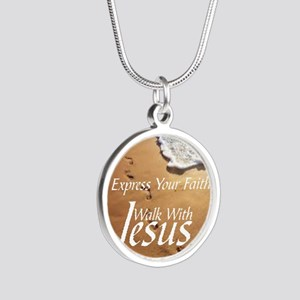 EXPRESS YOUR FAITH WALK WITH Silver Round Necklace
