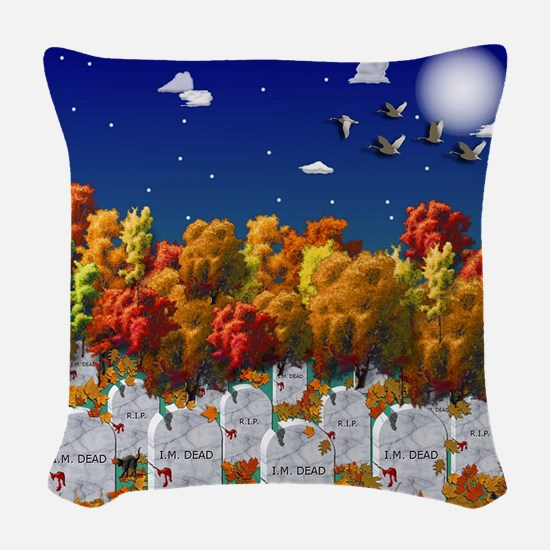 Spooky Graveyard Halloween Woven Throw Pillow