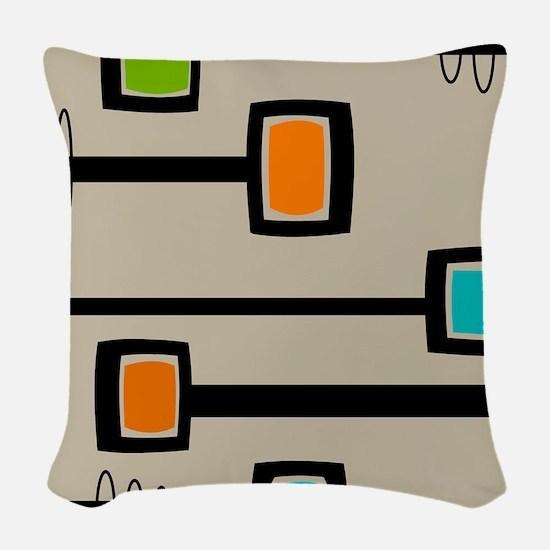 Mid-Century Abstract Art Woven Throw Pillow