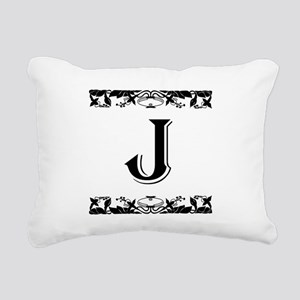 Roman Style Letter J Rectangular Canvas Pillow