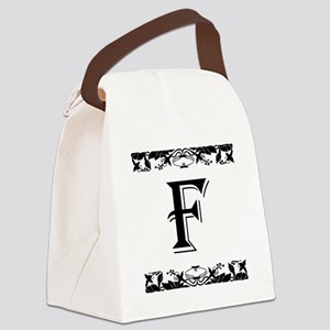 Roman Style Letter F Canvas Lunch Bag