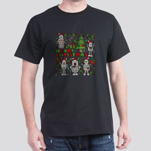 Merry Christmas Robots Dark T-Shirt