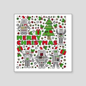 "Merry Christmas Robots Square Sticker 3"" x 3"""