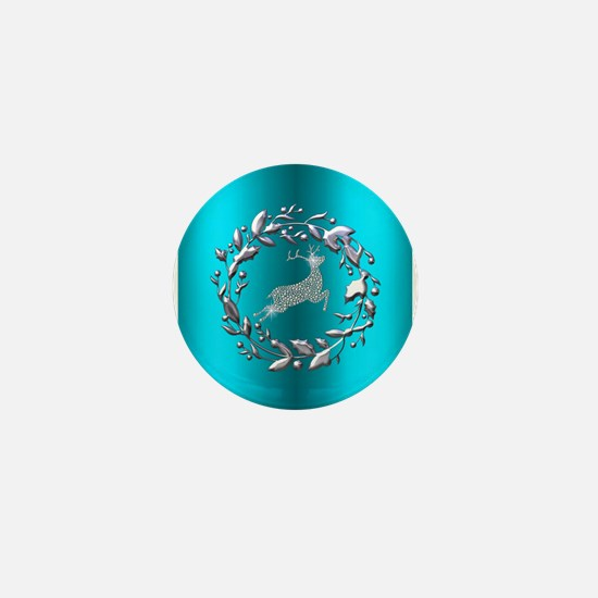 Silver Christmas Reindeer on Teal Mini Button