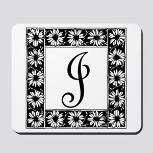 Sunflower Border Letter J Mousepad