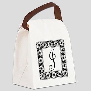 Sunflower Border Letter J Canvas Lunch Bag