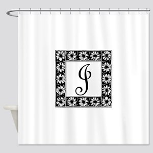 Sunflower Border Letter J Shower Curtain