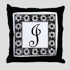 Sunflower Border Letter J Throw Pillow