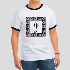 Sunflower Border Letter J T-Shirt