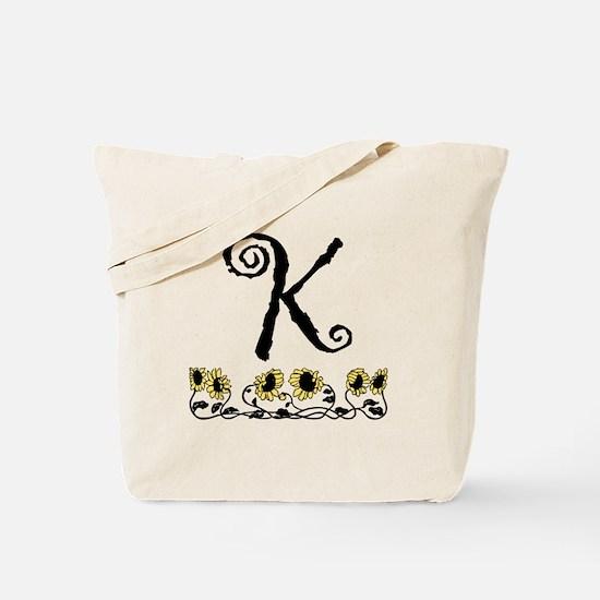 Letter K Sunflowers Tote Bag