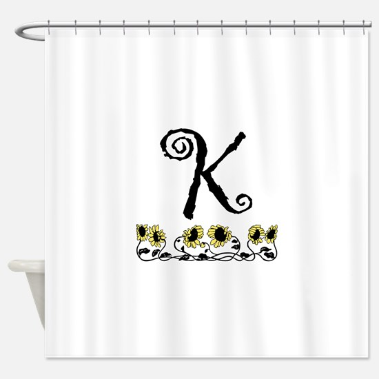 Letter K Sunflowers Shower Curtain