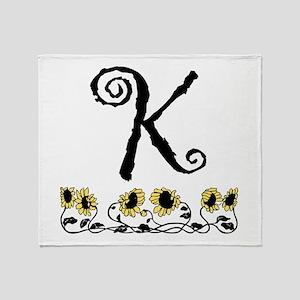 Letter K Sunflowers Throw Blanket