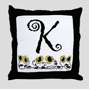 Letter K Sunflowers Throw Pillow