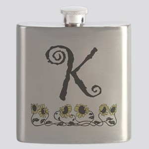 Letter K Sunflowers Flask