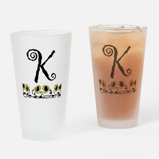 Letter K Sunflowers Drinking Glass