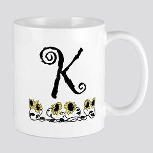 Letter K Sunflowers Mugs