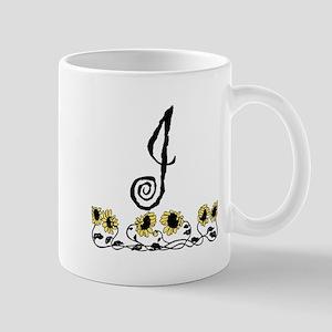 Letter J Sunflowers Mugs