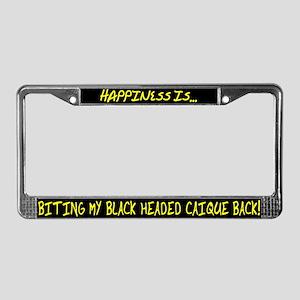 HI Biting Black Headed Caique License Plate Frame