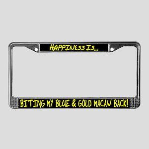 HI Biting Blue & Gold Macaw License Plate Frame