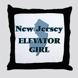 New Jersey Elevator Girl Throw Pillow