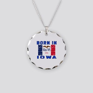 Born in Iowa Necklace Circle Charm