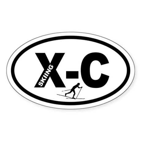 Cross Country Skiing Oval Sticker
