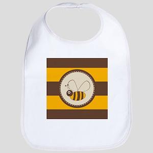 Cute Honey Bee on Yellow Brown Stripe Bib