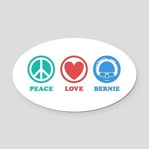 Peace Love Bernie Icons Oval Car Magnet