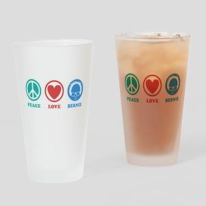 Peace Love Bernie Icons Drinking Glass