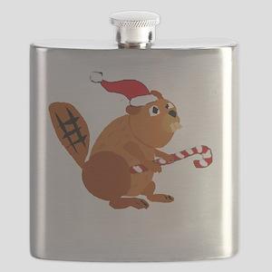 Funny Beaver Christmas Flask