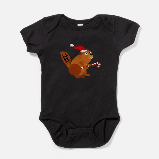 Funny Beaver Christmas Baby Bodysuit
