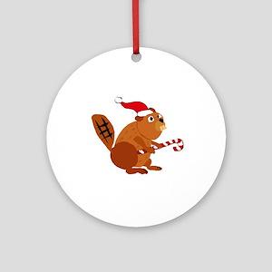 Funny Beaver Christmas Round Ornament