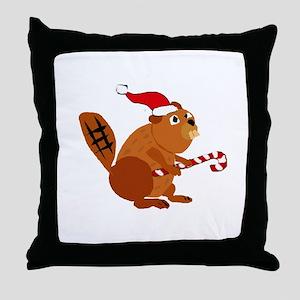 Funny Beaver Christmas Throw Pillow