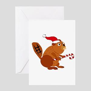 Funny Beaver Christmas Greeting Cards