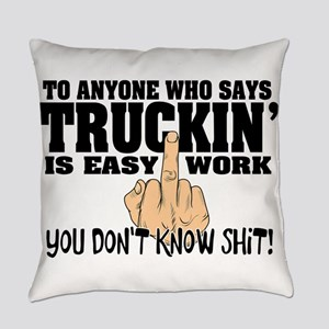 Trucking Middle Finger Everyday Pillow