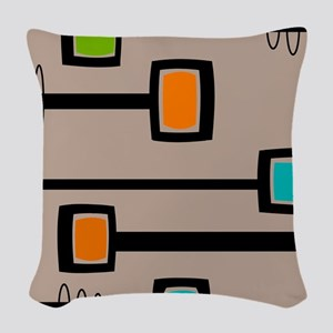 Mid-Century Abstract Art Woven Throw Pillow