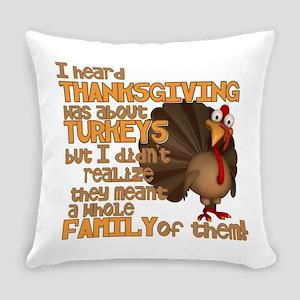 Turkey Family Everyday Pillow