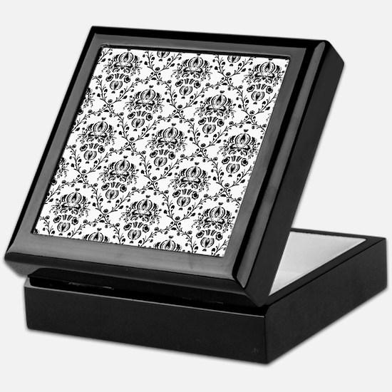 Black and White Damask Keepsake Box
