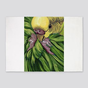 Green Parakeet Budgie 5'x7'Area Rug