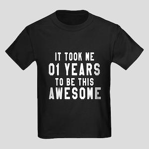 01 Years Birthday Designs Kids Dark T-Shirt